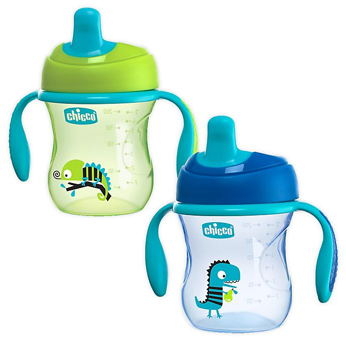 Alternate image 1 for Chicco® 2-Pack 7 oz. First Spout Trainer Sippy Cups in Blue/Teal