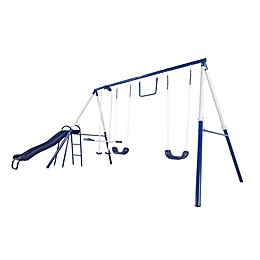 Sportspower Arcadia Metal Swing and Slide Set in Blue