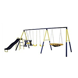 Sportspower Super Star Metal Swing and Slide Set in Blue/Yellow