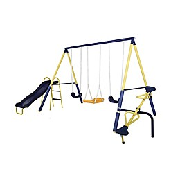 Sportspower Palmview Metal Swing and Slide Set in Blue/Yellow