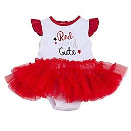 "babyGEAR™ ""Red, White & Cute"" Ruffle Bodysuit with Tutu in Red"