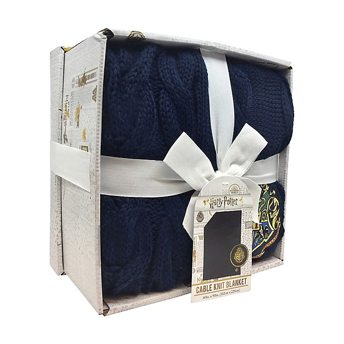 Alternate image 1 for Harry Potter™  Knitted Blanket in Blue with Gift Box