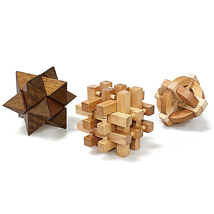 Alternate image 1 for Geometric Wooden Puzzles (Set of 3)