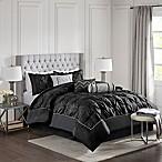 Madison Park Laurel 7-Piece Queen Comforter Set in Black