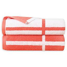 Landon Bath Sheets in Coral/White (Set of 2)