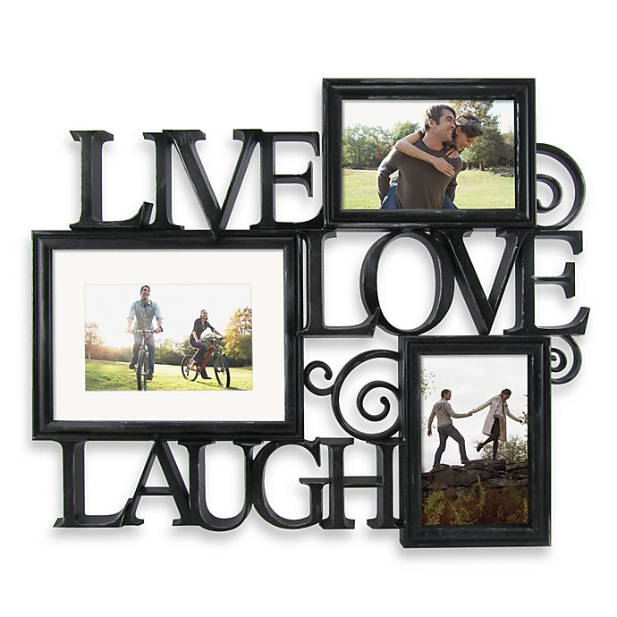 Three Photo Live Love Laugh Scroll Wall Collage In Black Bed Bath Beyond