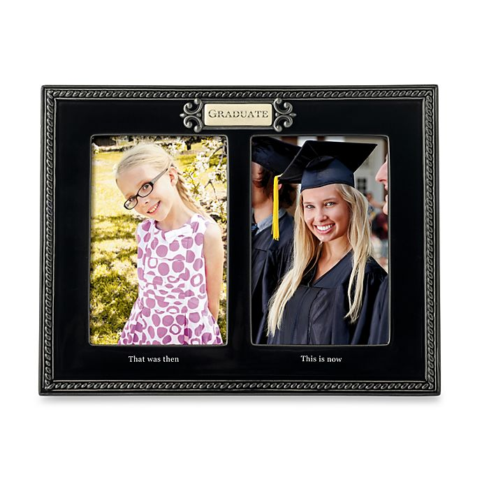 Black Ceramic Then And Now 4 Inch X 6 Inch Graduation Photos Frame