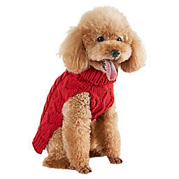 Bee & Willow™ Home X-Large Cable Knit Dog Sweater in Red