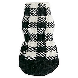 Bee & Willow™ Buffalo Check Dog Socks in Black/White