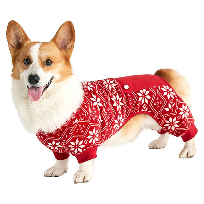 Alternate image 1 for Bee & Willow™ Home Fair Isle Printed Dog Pajamas in Red