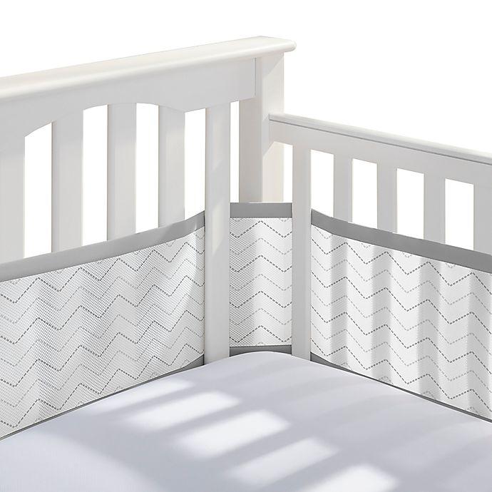 Alternate image 1 for BreathableBaby® Breathable Mesh  Chevron Crib Liner in Grey