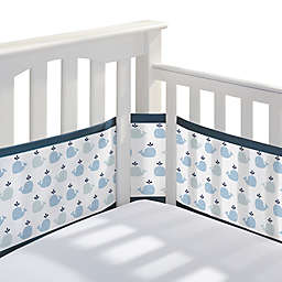 BreathableBaby® Breathable Mesh Crib Liner in Little Whale/Navy