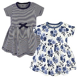 Touched by Nature 2-Pack Floral Short Sleeve Organic Cotton Dresses in Navy