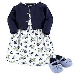 Hudson Baby® 3-Piece Blueberries Dress, Cardigan, and Shoe Set in Blue