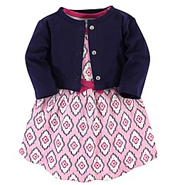 Touched by Nature 2-Piece Trellis Organic Cotton Dress and Cardigan Set in Pink