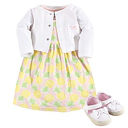 Hudson Baby® 3-Piece Pineapple Dress, Cardigan and Shoe Set in Yellow
