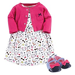 Little Treasure 3-Piece Happy Rainbow Dress, Cardigan, and Shoe Set in Pink