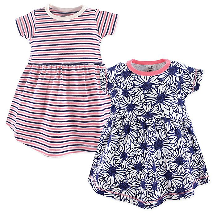 Alternate image 1 for Touched by Nature 2-Pack Daisy Organic Cotton Dresses