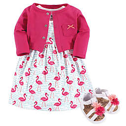 Hudson Baby® 3-Piece Flamingo Cardigan, Dress and Shoe Set in Pink