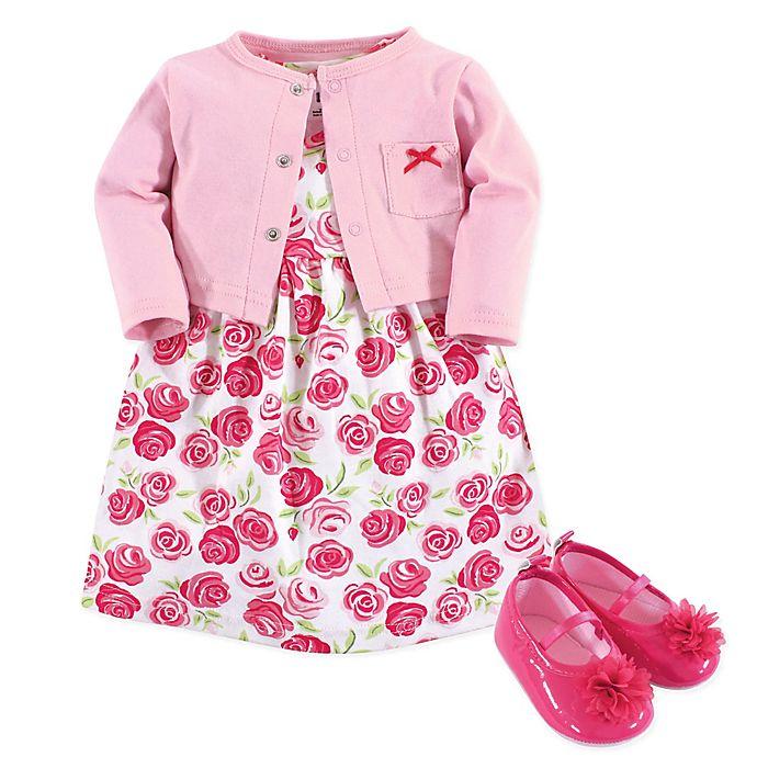 Alternate image 1 for Hudson Baby® 3-Piece Roses Cardigan, Dress, and Shoe Set