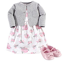 Hudson Baby® 3-Piece Floral Dress, Cardigan and Shoe Set in Pink