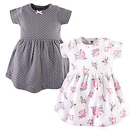 Hudson Baby® 2-Pack Floral Casual Dress in Pink/Grey