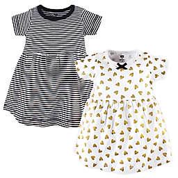 Hudson Baby® 2-Pack Heart Dresses in Black/Gold