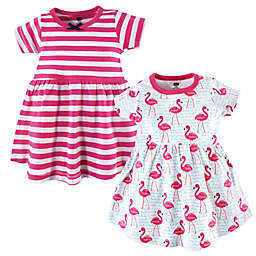Hudson Baby® 2-Pack Flamingos and Stripes Dresses in Pink