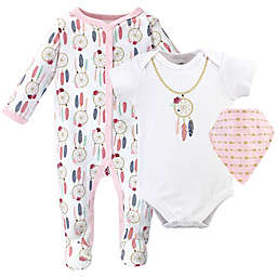 Little Treasure 3-Piece Dream Catcher Footie, Bodysuit, and Bandana Bib Layette Set