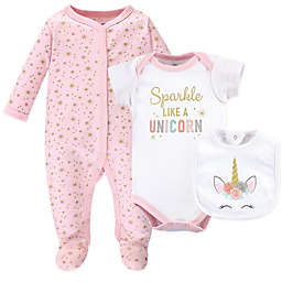 Little Treasure 3-Piece Unicorn Footie, Bodysuit, and Bib Layette Set in Pink