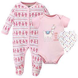 Little Treasure 3-Piece Llama Love Bodysuit, Footie, and Bib Set in Pink