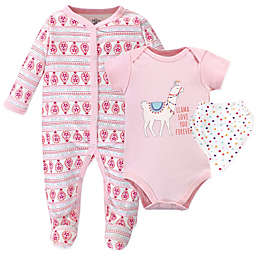 Little Treasure 3-Piece Llama Love Bodysuit, Footie, and Bib Set in Pink