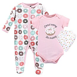 Hudson Baby® 3-Piece Donut Worry Footed Pajama, Bodysuit, and Bib Set
