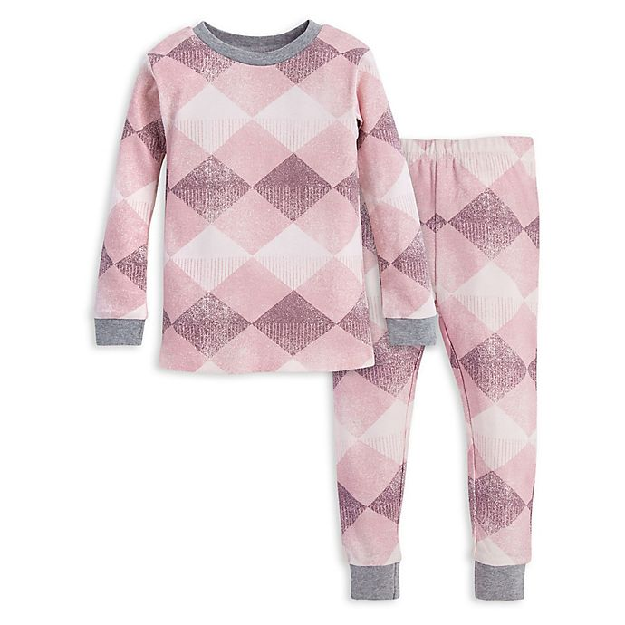 Alternate image 1 for Burt's Bees Baby® Argyle Toddler Organic Cotton Pajama Top and Pant Set