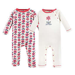 Touched by Nature 2-Pack Floral Organic Cotton Coveralls in Pink