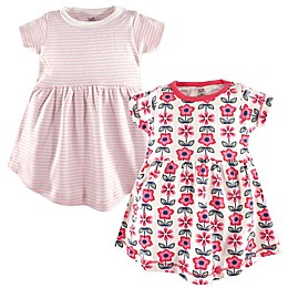 Touched by Nature 2-Pack Floral and Striped Organic Cotton Dresses in Pink