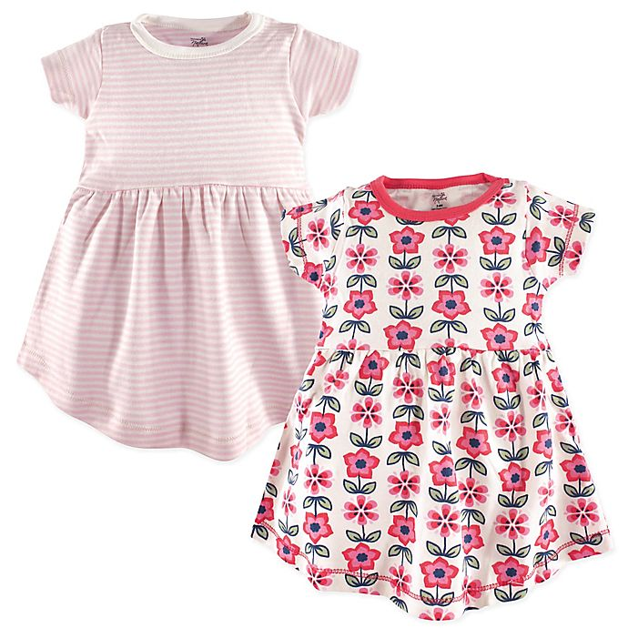 Alternate image 1 for Touched by Nature 2-Pack Floral and Striped Organic Cotton Dresses in Pink