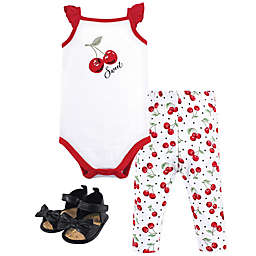 Hudson Baby® Size 12-18M 3-Piece Cherries Bodysuit, Pant and Shoe Set in Red
