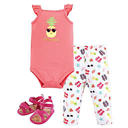 Hudson Baby® 3-Piece Hello Sunshine Bodysuit, Pant, and Sandal Set in Pink