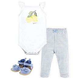 Hudson Baby® 3-Piece Lemon Bodysuit, Pant, and Shoe Set in Blue