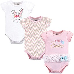 Little Treasure 3-Pack First Easter Bodysuits in Pink