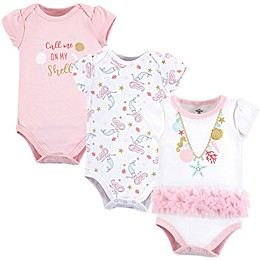 Little Treasure 3-Pack Sea Shells Short Sleeve Bodysuits in Pink
