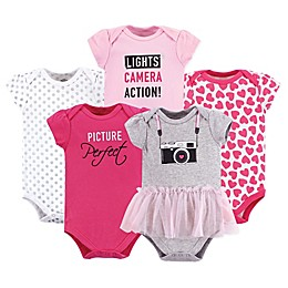 Little Treasure 5-Pack Camera Bodysuits in Pink/White
