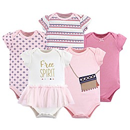 Little Treasure 5-Pack Free Spirit Bodysuits in Pink