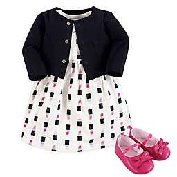 Little Treasure Size 9-12M 3-Piece Lipstick Dress, Cardigan and Shoe Set in Black