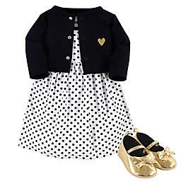 Hudson Baby® 3-Piece Black Dot Dress, Cardigan and Shoe Set