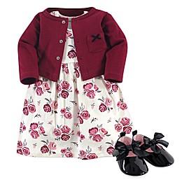 Hudson Baby® 3-Piece Rose Dress, Cardigan and Shoe Set in Pink