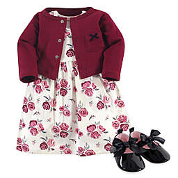 Hudson Baby® 3-Piece Rose Dress, Cardigan and Shoe Set in Pink