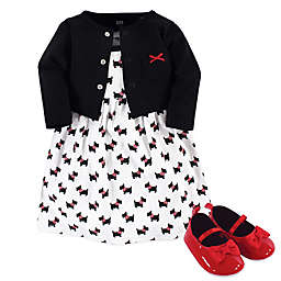 Hudson Baby® 3-Piece Scottie Dog Dress, Cardigan and Shoe Set in Black