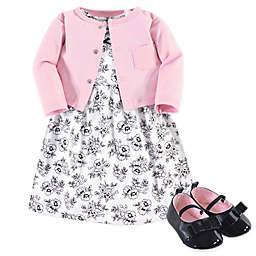 Hudson Baby® 3-Piece Floral Dress, Cardigan, and Shoe Set in Pink